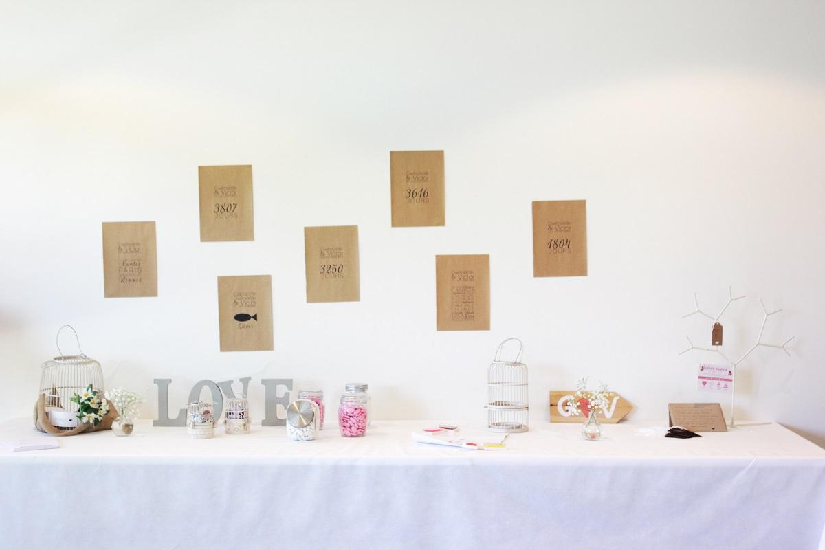 Candy bar et table à souvenirs pour notre renouvellement de voeux