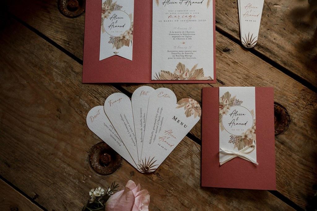 Papeterie mariage bohème chic // Shooting d'inspiration publié sur Wedding by Fabiola