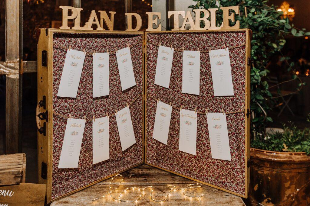 Plan de table // Mariage en Provence avec une ambiance tropicale (couleurs chaudes et dorées) // Photo Nicolas Terraes // Publication sur Wedding by Fabiola